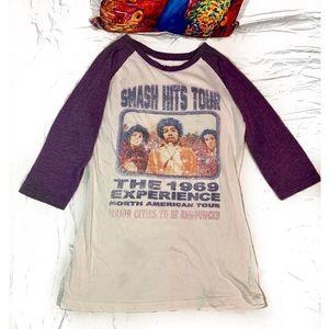 Jimi Hendrix Smash Hits Tour Baseball Tee Sze-sml